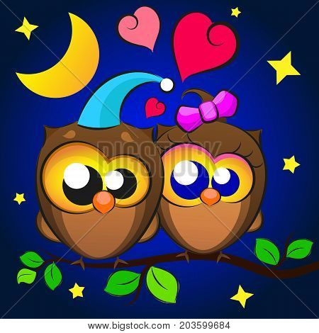 Love Two owls in the night star sky in a frame of hearts. Greeting card for Valentine s Day.