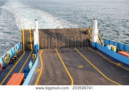 Empty Ferry Ship is transport on sea