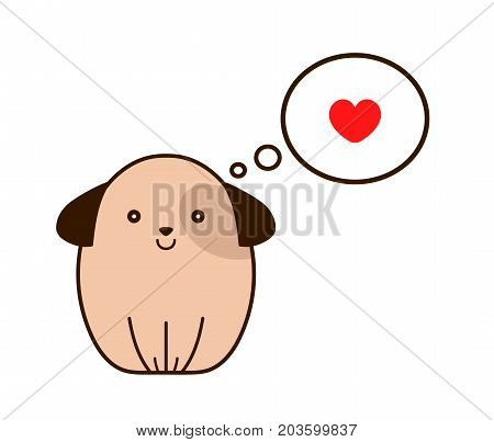 Dog with heart in thought cloud. Vector modern line outline flat style cartoon character illustration icon. Isolated on white background. Dog puppy pets love concept