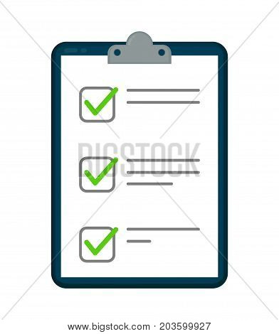 Clipboard with checklist icon. Vector flat cartoon illustration icon.Isolated on white background. Checklist  success concept