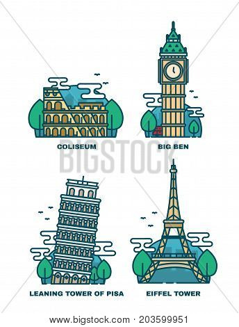 European Attractions.Paris Eiffel Tower.Rome Coliseum.Paris Eiffel Tower. Leaning tower of Pisa.Big Ben London.Vector modern line outline flat style illustration