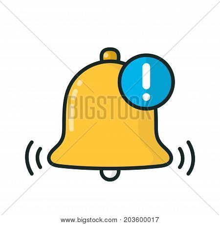 Bell notification.Vector modern line outline flat style cartoon illustration icon. Isolated on white background. Alarm notification concept