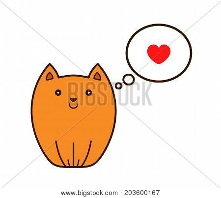Cat with heart in thought cloud. Vector modern line outline flat style cartoon character illustration icon. Isolated on white background. Cat pets love concept