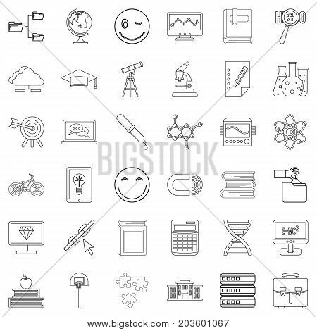 Graduate icons set. Outline style of 36 graduate vector icons for web isolated on white background