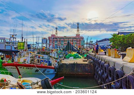 TAIPEI TAIWAN - JULY 05: This is a view of Tamsui fisherman's wharf boat yard which is a fmous landmark in Taipei well known for its scenic views on July 05 2017 in Taipei