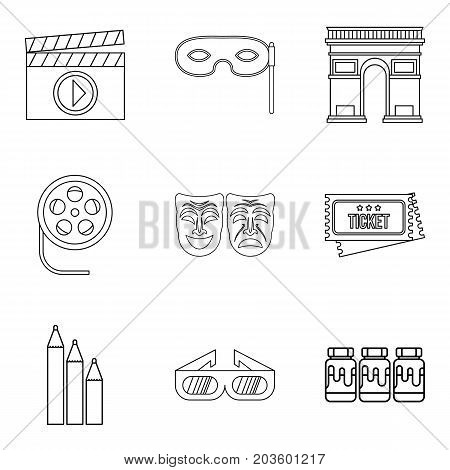 Watching movie icons set. Outline set of 9 watching movie vector icons for web isolated on white background