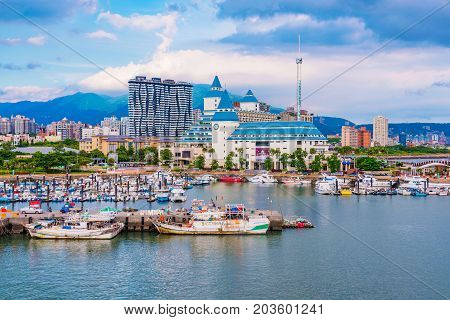 TAIPEI TAIWAN - JULY 05: This is a view of Tamsui fisherman's wharf area and Fullon hotel which is a popular luxury hotel in the Tamsui area July 05 2017 in Taipei
