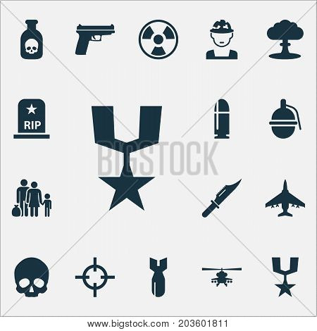 Army Icons Set. Collection Of Chopper, Rip, Order And Other Elements