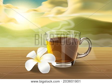 tea and plumeria on wooden table on the morning