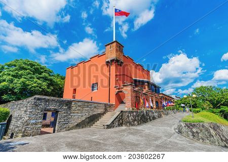 TAIPEI TAIWAN - JULY 05: This is Fort Sand Domingo a traditional Spanish fort and historical landmark in the coastal Tamsui area on July 05 2017 in Taipei