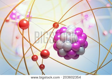 Elementary Particles In Atom. Physics Concept. 3D Rendered Illus