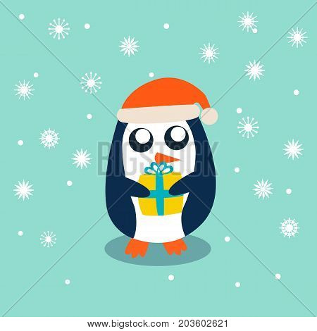 Baby Penguin standing on sky blue background and holding the gift. Cute Penguin cartoon flat design vector illustration.