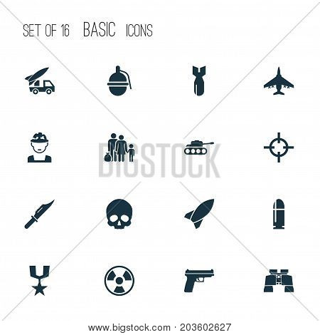 Combat Icons Set. Collection Of Dangerous, Ordnance, Missile And Other Elements
