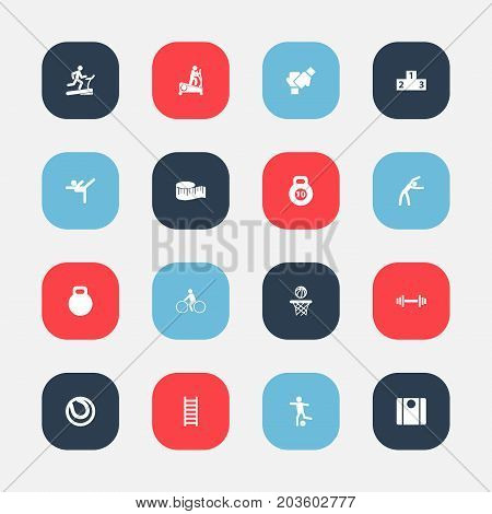 Set Of 16 Editable Fitness Icons. Includes Symbols Such As Balance, Strength, Football And More