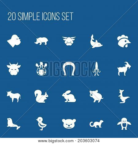 Set Of 20 Editable Animal Icons. Includes Symbols Such As Ox, Kine, Puma And More