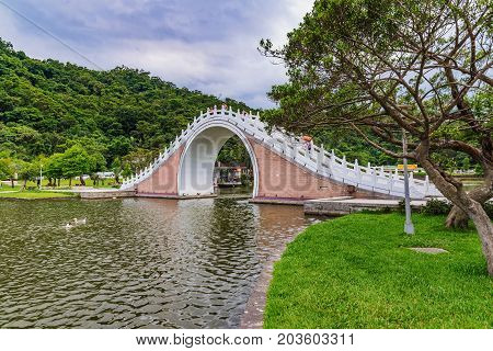Tranquil scene of jindai bridge and nature in Dahu park