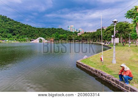 TAIPEI TAIWAN - JULY 01: This is Dahu park a famous park in the Neihu area where many people to enjoy the scenery on July 01 2017 in Taipei