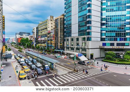 TAIPEI TAIWAN - JULY 01: This is Nanjing fuxing a business area in downtown Taipei where many office buildings and hotels are situated on July 01 2017 in Taipei