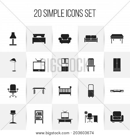 Set Of 20 Editable Furnishings Icons. Includes Symbols Such As Mattress, Office, Trestle And More