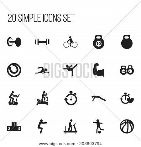 Set Of 20 Editable Active Icons. Includes Symbols Such As Heft, Platform For Winner, Executing Running And More