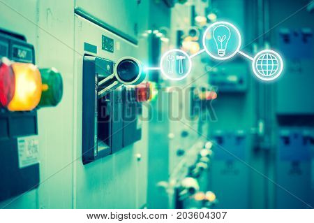 Electrical switchgear roomIndustrial electrical switch panel on plant and process control with business icon tools in grainy style.