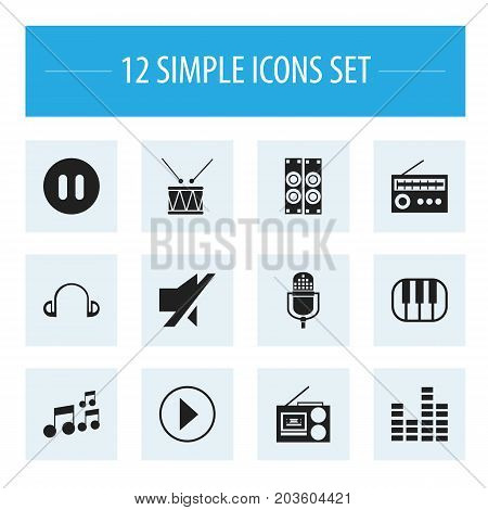 Set Of 12 Editable Media Icons. Includes Symbols Such As Drum, Cassette Player, Tone And More