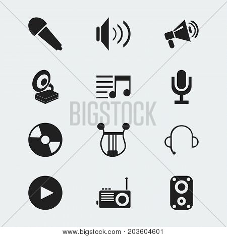 Set Of 12 Editable Mp3 Icons. Includes Symbols Such As Radio, Announcement, Playlist And More