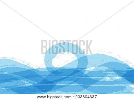 Horizontal background with waves painted by rough brush. Sketch watercolor ink grunge. Vector illustration.