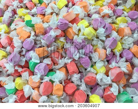 Close up of colorful saltwater Taffy Candy Background.
