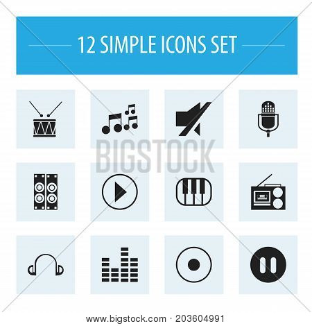 Set Of 12 Editable Sound Icons. Includes Symbols Such As Mute, Tone, Synthesizer And More