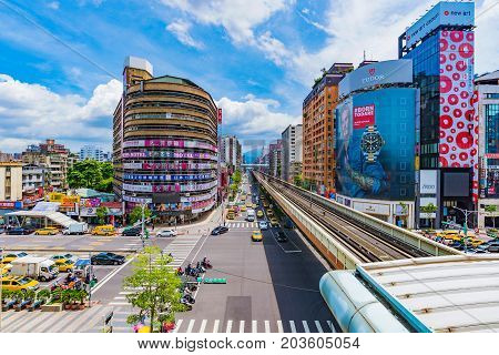 TAIPEI TAIWAN - JUNE 27: This is a view of the Zhongxiao Fuxing shopping area with MRT station tracks on June 27 2017 in Taipei