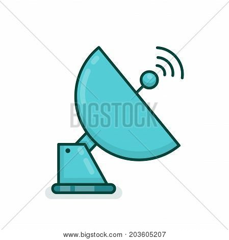 Satellite antenna communication dish radio signal network . Vector modern line outline flat style cartoon illustration icon. Isolated on white background. Technology wireless space radio signal