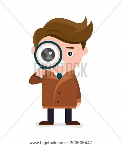Cute happy smiling detective look at the magnifier. Vector modern flat style cartoon character illustration. Isolated on white background.Search, investigation concept