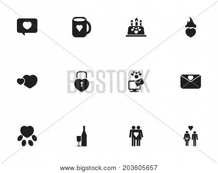 Set Of 12 Editable Heart Icons. Includes Symbols Such As Affection Letter, Couple, Pounce And More