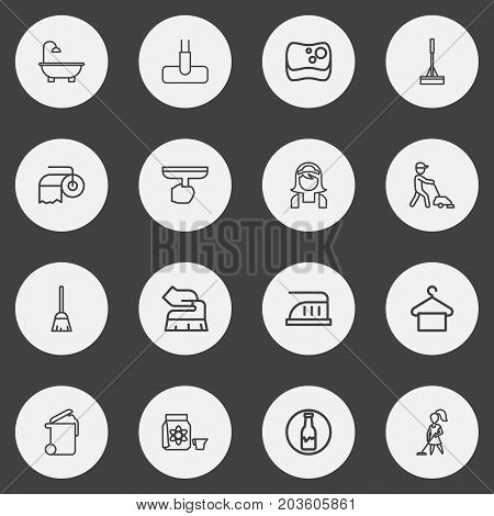 Set Of 16 Editable Hygiene Outline Icons. Includes Symbols Such As Window Cleaner, Dust, Housekeeper And More