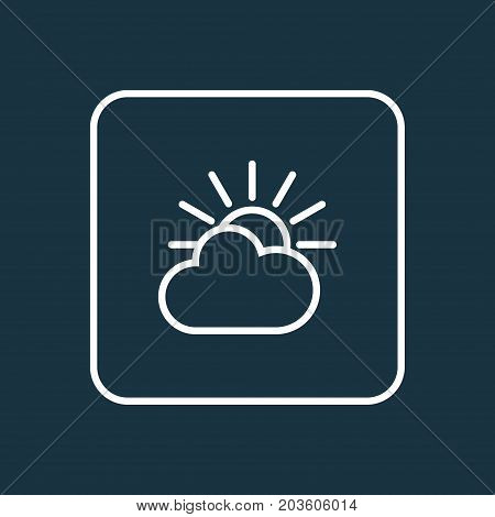 Premium Quality Isolated Cloud Sky Element In Trendy Style.  Overcast Outline Symbol.