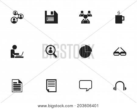 Set Of 12 Editable Bureau Icons. Includes Symbols Such As Blank, Mug, Worker In Laptop And More