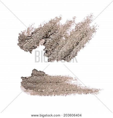 Shattered Eyeshadow. Broken. Smashed. Natural texture of eye shadows taupe color. Makeup cosmetic element. Vector object.