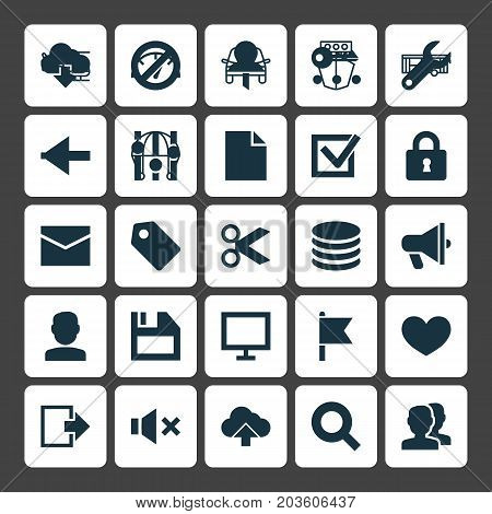 Interface Icons Set. Collection Of Letter, Equalizer, Backward And Other Elements