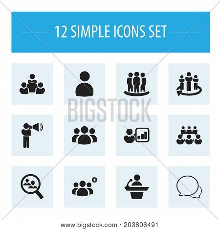 Set Of 12 Editable Business Icons. Includes Symbols Such As Introducing, Command, Male
