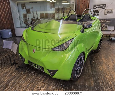 ZAGREB, CROATIA - JULY 18, 2017: An electric car in the Tesla Museum in Zagreb.