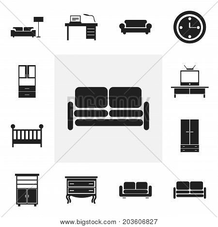 Set Of 12 Editable Furnishings Icons. Includes Symbols Such As Tv, Cabinet, Watch And More