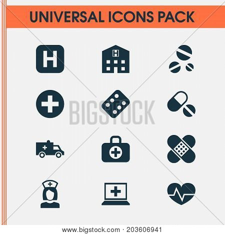 Antibiotic Icons Set. Collection Of Bus, Nanny, Remedy And Other Elements