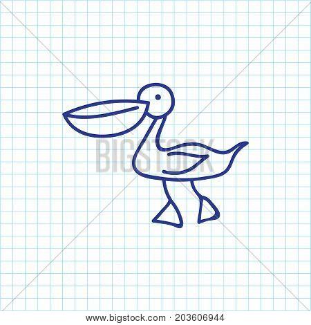 Vector Illustration Of Zoo Symbol On Waterbird Doodle