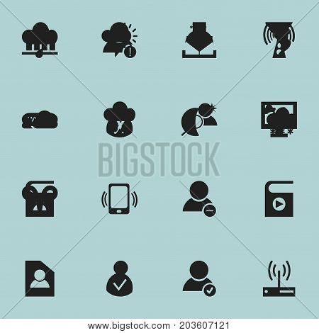 Set Of 16 Editable Network Icons. Includes Symbols Such As Access Allowed, Wireless Transmission, Error Account And More