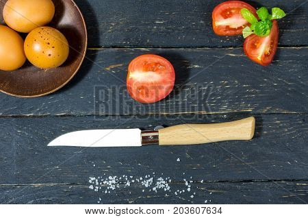 Slicing Tomatoes With A Pocket Knife. Flat Lay.