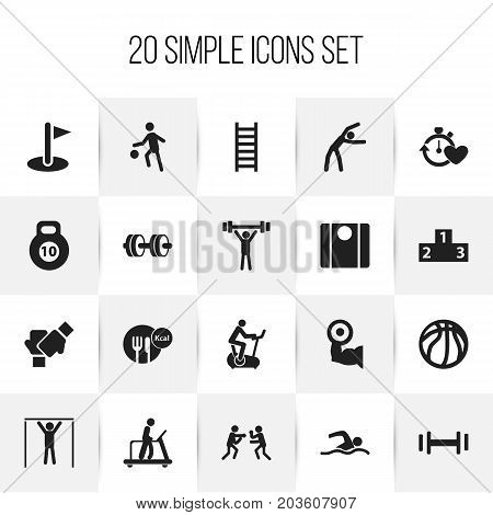 Set Of 20 Editable Lifestyle Icons. Includes Symbols Such As Basket Play, Sportsman, Platform For Winner And More