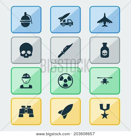 Warfare Icons Set. Collection Of Cranium, Order, Aircraft And Other Elements