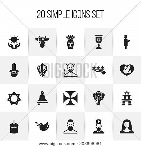 Set Of 20 Editable Religion Icons. Includes Symbols Such As Pagoda, Chaplain, Satan And More