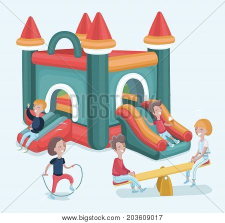 Vector cartoon illustration of excited kids having fun on inflatable attraction playground. Isolated on white background